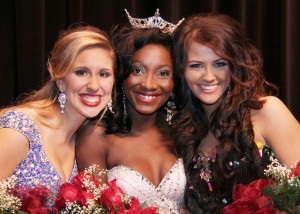 From left to right are second runner-up, Anna Taggart of Raymond; Miss Hinds 2014 Porsha Gatson of Vicksburg; and first runner-up, Jade Dalton of Flora.