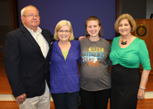 Larry McCulloch, left, Lynnie Dunn of Brandon, mother of the honoree; Bonney Collins of Brandon, who won the Carla McCulloch Scholarship; and Carol McCulloch. The McCullochs, formerly of Magee, each year present the Carla McCulloch Scholarship to a Hinds Community College second semester nursing student.