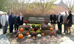 Speakers at the Sept. 30 building dedication at Hinds Community College's Vicksburg-Warren Campus included, from left, Hinds President Dr. Clyde Muse; Board of Trustees President Robert Pickett; Chad Shealy, superintendent of the Vicksburg Warren school district; Joe Loviza, retired dean of the campus; Charles Peets, chairman of the Vicksburg-Warren Campus Advisory Board; Marvin Moak, current dean of the campus; welding instructor Joe Johnston and Dr. Debra Mays-Jackson, vice president of the Utica and Vicksburg-Warren campuses.