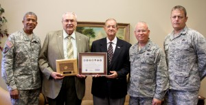From left are Major General Augustus L. Collins, Adjutant General of Mississippi, Hinds President Dr. Clyde Muse, Jack Wallace, chair of the Mississippi Committee for Employer Support of the Guard and Reserve; Maj. Gen. William C. Crisler Jr., assistant adjutant general for the Air National Guard and Colonel Harold Mashburn, 172d Airlift Wing Mission Support Group commander.