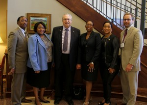Sen. Albert Butler of Port Gibson, Beverly Trimble, Utica Campus Workforce Investment Act coordinator; Hinds President Dr. Clyde Muse; Dr. Debra Mays-Jackson, Utica and Vicksburg-Warren Campus vice president; Rep. Deborah Butler Dixon of Raymond and Nathan Wells of Brandon, staff assistant to Speaker of the House Philip Gunn.