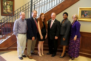 Jeff Hughes of Richland, left, math and Student VOICES instructor; Rep. John Moore of Brandon; Hinds student Regan Clark of Brandon, who graduated from high school through the Hinds Gateway to College program; Rep. Tom Weathersby of Florence, Sherry Franklin, dean of students on the Rankin Campus and Valerie Barton, director of the Rankin Career Center who was formerly director of the Gateway to College program