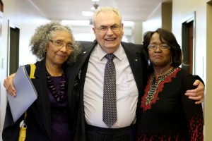 Rep. Alyce Clarke of Jackson, left, and, Rep. Mary Coleman of Jackson, right, with Hinds President Dr. Clyde Muse