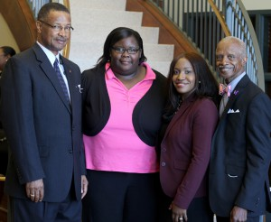 Sen. Sollie Norwood of Jackson, Hinds student Adrienne Banks of Jackson, who attends Jackson Campus-Academic/Technical Center, Hinds Community College Single Stop district coordinator Taheera Hoskins and Sen. Hillman Frazier of Jackson.