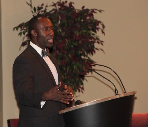 Jackson Mayor Tony Yarber addresses the audience of high school and college students.