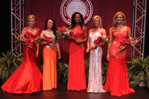 From left, Courtney Walker of Crystal Springs; Taylor Jackson of Clinton; Courtney Helom of Jackson, Most Beautiful; Shelby Simmons of Waynesboro; and Meagan Barnhart of Florence.