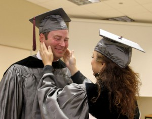 Justin Kuykendall of Pearl, left, and Donna Harris of Raymond, right, graduated from Hinds Community College on Dec. 18 with Associate Degrees in Nursing.