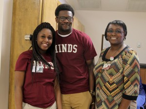 Hinds Community College students Elexus Moore of Port Gibson and Kamen Wells of Vicksburg and Hinds employee Priscilla Burks were among those at the Vicksburg-Warren Campus' Nursing Showcase on Jan. 24.