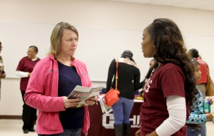 Tina Sellers of Vicksburg was among those attending the Jan. 24 nursing showcase at the Vicksburg-Warren Campus. With her is Hinds Community College nursing pathfinder Amie Ray.