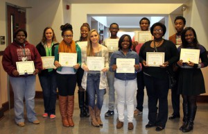 Those honored for highest average include, front from left, Jasmine Johnson of Jackson, intermediate English; Chelsea Berry of Vicksburg, essential college skills; Jaylan Garrett of Byram, beginning algebra and essential college skills; Kimberly Stevens of Jackson, essential college skills; Kenya Johnson of Jackson, intermediate English; back row, Angila Bradfield of Jackson, beginning algebra; Vanessa Ratliff of Edwards, beginning algebra and intermediate algebra, English Composition I, life skills; India Landing of Clinton, intermediate English, advanced reading, career exploration; Jaylyn Walker of Terry, intermediate English; Charvarius Ward of McComb, English Composition I, intermediate algebra, college algebra and advanced reading; Gabriel Giles of Jackson, intermediate algebra. Ratliff and Landing also won awards for best research papers in the essential college skills class.