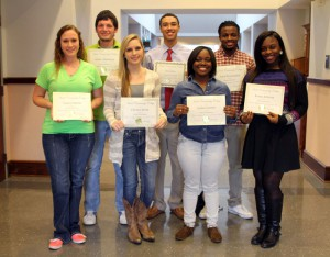 Those honored for perfect attendance include, front from left, Vanessa Ratliff of Edwards, Chelsea Berry of Vicksburg, Jaylan Garett of Byram, Kenya Johnson of Jackson; back, Austin Masterson of Raymond, Tyler Jones of Jackson and Tony Washington of Picayune.
