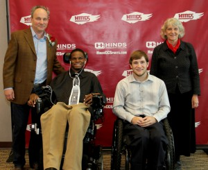 Hinds students Andrew Thomas, left, and Wyatt McClaskey are recipients of a new scholarshipo provided by the Craig H. Neilsen Foundation. Standing are Ray Neilsen, co-trustee and chairman of the foundation, and Trish Oba, program officer Quality of Life Grants.
