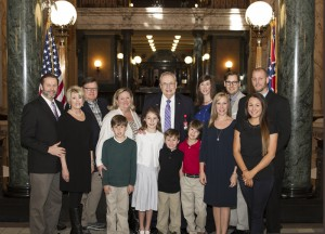 Hinds President Dr. Clyde Muse and his family at the state Capitol.