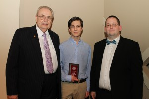 Joseph Jackson Allen, of Florence, center, was among Hinds Community College students recently recognized with a departmental award in a program April 17 at Cain-Cochran Hall on the Raymond Campus. Allen received an Outstanding Student Award for computer science, presented by Physics Instructor Dr. Carl Dewitt, right, and Hinds Community College President Dr. Clyde Muse.