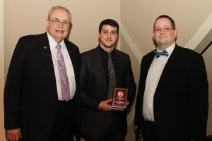Joshua Lawrence Nash, of Florence, center, was among Hinds Community College students recently recognized with a departmental award in a program April 17 at Cain-Cochran Hall on the Raymond Campus. Nash received an Outstanding Student Award for physics, presented by Physics Instructor Dr. Carl Dewitt, right, and Hinds Community College President Dr. Clyde Muse.