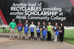 As part of the first-ever Earth Day Celebration on the Rankin Campus, students and faculty highlighted the benefits of recycling and the fact that monies earned from recycling fund student scholarships. Participants included, from left, Jason Pope, director of Sustainability; Leon Jackson, recyclenator;  student Zack Gray of Pelahatchie; student Amber Capps-Podemski of Jackson; Joy Rhoads, geography and history instructor and Phi Theta Kappa adviser; student James Weathersby of Mendenhall; Mindy Stevens, Sustainability Projects coordinator; Judy Isonhood, Phi Theta Kappa Faculty adviser and Elizabeth Price, administrative assistant.