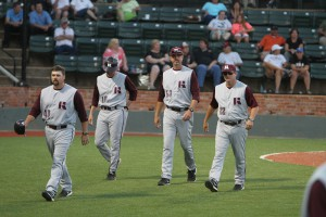 Hinds Community College baseball coaches Tim Axton, left, Dan Rives, Chad Bradford and head coach Sam Temple