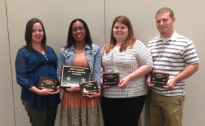 Hannah Eagles, of Byram, from left, Mary Worthy Davis, of Canton, Rachel McWilliams, of Brandon, and Robert Bray, of Raleigh, hold plaques won for the team's second-place finish at the American Society for Clinical Laboratory Science's 2015 Bi-State meeting April 13-16 in Shreveport, La.