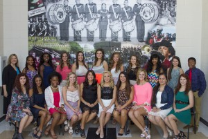Front row, from left: Alyssa Vernon, of Richland; Symphonia Harris, of Jackson; Brielle Davis, of Byram; Lindsey Jeselink, of Clinton; captain Jessica Decell, of Clinton; lead captain Bekah Summerlin, of Pearl; captain Kasey Kimery, of Pearl; Meagan Barnhart, of Florence; Rocio Torres, of Richland; and Brooke Vernon of Richland. Back row, from left: Angela Hite, director; Versace Devine, of Jackson; Kendra James, of Vicksburg; Sara Katherine Dew, of Yazoo City; Hope Lundstrom, of Pearl; Tessie Hall, of Flowood; Emileigh McKinnon of Florence; Emily Childs, of Jackson; Darviera' Jones, of Memphis, Tenn.; Jenny White, of Clinton; and manager Javadric Kelly, of Bolton. Not pictured is Kayla Cook, of Richland.