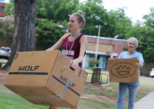 Hi-Stepper Lindsey Jeselink of Clinton moves into Allen-Dukes-Whitaker Residence Hall at Hinds Community College's Raymond Campus with the help of her grandmother Lanette Jeselink. Jeselink is a sophomore student studying radiologic technology.