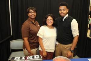 Hinds Community College Utica Campus recruiters Chelia Thompson, left, and  John Townes met with prospective students, including Northwest Rankin High School student Saray Benitez ,center, during  the Rankin County School District College Fair held at the Rankin Campus of Hinds Community College in the Muse Center on Wednesday, Sept. 9, 2015. Many colleges were present to recruit high school students from the school districts.