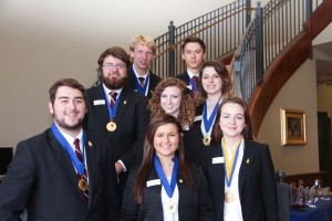 2015 officers include, from left to right, front row: Ryan Williamson, of Raymond, Vice-President of Fellowship and MS/LA Regional President; Courtney Evans, of Raymond, Vice-President of Scholarship and College Project Coordinator; Olivia DeGrado, of Yazoo City, Co-President; second row: Eli Beatty, of Brandon, Vice-President of Membership, Taylor Stockton, of Cleveland, Vice-President of Service, Megan Stockton, of Clinton, Co-Vice-President of Public Relations and Kappa Chronicle Editor; third row: Harrison Hunter, of Hermanville, Vice-President of Scholarship and Honors-In-Action Coordinator; Talgat Brown, of Yazoo City, Honors Executive Council member overseeing social media, website and College Project. Officers not pictured include Eric Rush, of Clinton, Co-President. (April Garon/Hinds Community College)