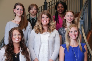 Inductees include, from left to righ, first row: Elise Ades, Clinton; Lindsey Jeselink, Clinton; middle row: Anne Sinclair, Clinton; Abbey Ades,Clinton; Marilyn Adams, Clinton; back row: James Henry Crister, Clinton; Kiara Williams, Clinton. (April Garon/Hinds Community College)