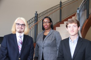 Inductees include, from left to right, front row: Donovan Wright, Brayden Williams; back row: Sandra Hill, all of Vicksburg. (April Garon/Hinds Community College)
