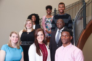 Inductees include, from left to right, front row: Brittney Schreiber, of Durant, Sara Terrell, of Bogue Chitto, Charvarius Ward, of McComb; second row: Mayghan Fielder, of Yazoo City, James Martin Young, of Canton; third row: Kamryn Gooden, of Natchez, Dapri Ross, of Wisconsin, Kalaishi Johnson, of Canton. (April Garon/Hinds Community College)
