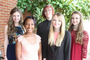 Inductees included, from left, Darya Thompson, Chelsea Hooper, Emileigh McKinnon, Styler Ginger and Emily Childs, all of Byram. (Tammi Bowles/Hinds Community College)