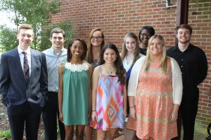 Inductees included, front row, from left, Lauren Davis, Jenny White, Anna Huse; back row, from left, Tucker Welch, Dalton Hanley, Jesslyn Fancher, Hayley DeYoung, Ashley Laird and James Hammer, all of Clinton. (Tammi Bowles/Hinds Community College)