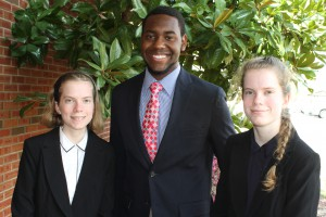 Inductees included, from left, Shelby Mack, of Crystal Springs, Dominic Jackson, of Mendenhall, and Allison Mack, of Crystal Springs. (Tammi Bowles/Hinds Community College)