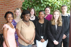 """Inductees included, front row, from left, Darya Thompson, of Byram, Kaejha Dee, of Utica, Jamye Davis, of Edwards and Rachel """"Rory"""" Raborn, of Edwards; back row, from left, Bailey Jones, Anna Hite, Loren Gainey and Cameron Brown, all of Raymond. (Tammi Bowles/Hinds Community College)"""