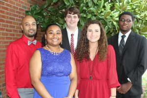 Inductees included, front row, from left, Camryn Tillman, of Raymond, Scottilyn Lloyd, of Brandon; Back row, from left, James Daniel III, of Vicksburg,Tyler Tatum and Reginald Pickering, both of Clinton. (Tammi Bowles/Hinds Community College)