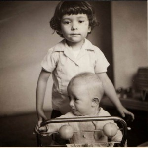 The black-and-white photo of Sol Dominguez, then an infant, and her brother, Alonso. Dominguez said her father took the photo in 1973.