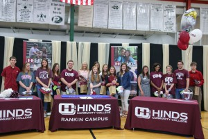 Pisgah High School held their second annual Academic Signing Day on May 6. Hinds Community College signees include, from left: T.J. Yates, Tori Shoemaker, Emily Still, Emily Nelson, Arryn Peterson, Taylor Bolton, Julie Thompson, Alexis Windham, Lindsey Strother, Katelyn Griffith, Angela McCurdy, Hinds Recruiter Meghan Hutchins, Keona Watson, Stacy Cole, Weston Bowman and Sean Gill. (April Garon/Hinds Community College)