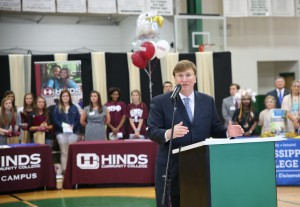 Lt. Gov. Tate Reeves speaks during a signing day ceremony May 6 at Pisgah High School. (April Garon/Hinds Community College)