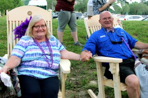 Janet Wasson and Thomas Wasson were named 3E award recipients for Hinds Community College in a surprise announcement at the April 29 Employee Appreciation Event. They were given matching rocking chairs made by the carpentry department in the Raymond Campus Career-Technical Education program.