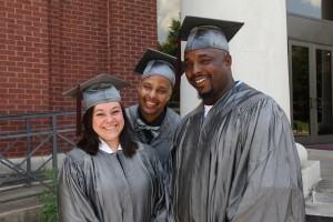From left, Ashley Clark, Ronald Humes and Allen W. Warner share a smile before a ceremony June 23 at Cain-Cochran Hall on Hinds Community College's Raymond Campus recognizing those who have earned their GED certificate in the recent academic term. (Tammi Bowles/Hinds Community College)