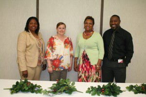 Seven graduates of the Gateway to College program this past semester at Hinds Community College Vicksburg-Warren Campus were honored during a luncheon May 20. Pictured are program staff, from left, Denetra Taylor, director, Nancy Robinson, administrative assistant, Tammi Sims, and Antonio Horton, both resource specialists. (Danny Barrett Jr./Hinds Community College)