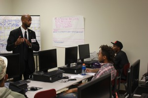 Television and Radio Broadcasting program director Timothy Crisler explains the details of his program to freshman students. (Hinds Community College/Allison Morris)