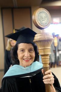 Hinds Community College retiree Dr. Mary Ann Greene of Clinton was the grand marshal and mace bearer at the July 29 summer graduation ceremonies.