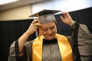 """Kimberly Denny of Vidalia, La., commuted across the Mississippi River to attend classes at the Vicksburg-Warren Campus. At age 47 she received her Associate Degree in Nursing, a journey she started when she was 18. Now with two daughters, 21 and 26, she decided it was """"my time. I can do it for me, not for them,"""" she said."""