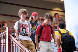 Freshmen students Patrick Murphy, Nick Fraser and Stone Smith, all of Flowood, make their way to a class on the first day of the fall 2016 semester at Hinds Community College Rankin Campus. Murphy is studying Radiologic Technology. Smith and Fraser are studying Business Management. (Hinds Community College/April Garon)