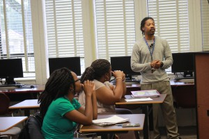 Mathematics instructor Willie Perkins outlines expectations for his eight-week math course at Hinds Community College Utica Campus. (Hinds Community College/Allison Morris)