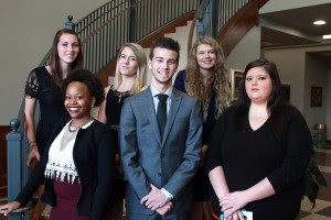 Inductees included, front row, from left, Ciara Ray, Logan Williamson, both of Byram, Alexa Nicole Brown, of Terry; back row, from left, Elena Moore, Kristen Chisholm, both of Byram, and Joanna Stevens, of Terry. (Hinds Community College/Tammi Bowles)