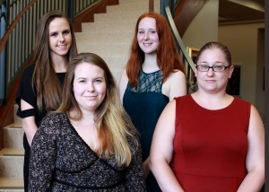 """Inductees include, front row, from left, Stephanie Lewis, Anisa """"Max"""" Martin, Emily Neely and Victoria Mulqueen, all of Clinton. (Hinds Community College/Tammi Bowles)"""