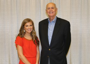 Among those recognized was recipient Anna Ades, of Utica, who received the Euell & Etoile Liles Family Endowed Scholarship. With her is Dean Liles, of Plano, Texas.