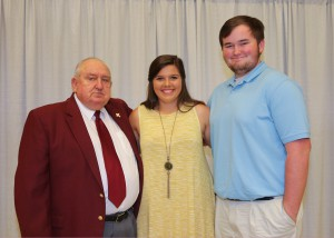 Among those recognized were recipients Olivia Oakes, center, of Vicksburg, and Gunnar Granberry, right, of Terry, who received the HCC Athletic Alumni Scholarship. With them is Pruitt Blalock, of Brandon.