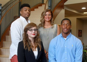 Inductees included, front row, from left, Taylor Scroggins, of Bentonia, DeMichael Harris, of Vicksburg, back row, from left, Desmond King, of Magee, and Alexandra Guion, of Yazoo City. (Hinds Community College/Tammi Bowles)